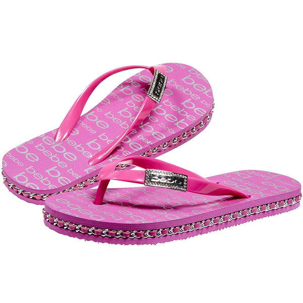 bebe Flip Flops Summer Beach Fashion Thong Sandals Lightweight Eva Sole Classical Comfortable for Girls Big Kid Size 1 Pink