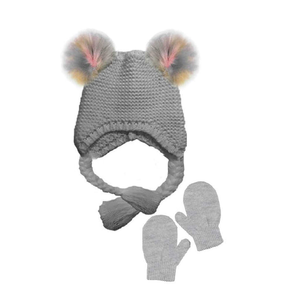 BCBG Toddler Girls Little Kid 2 Piece Knit Hat with Pom Poms and Mitten Set