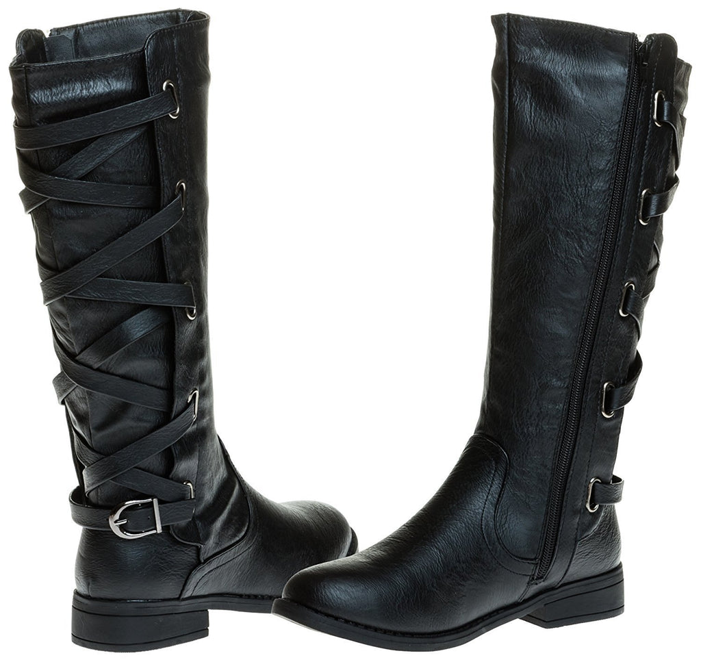 Sara Z Ladies Riding Boot With Lace Up Back Strap (Black), Size 11