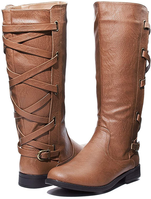 Sara Z Ladies Riding Boot with Lace Up Back Strap (See More Colors & Sizes)