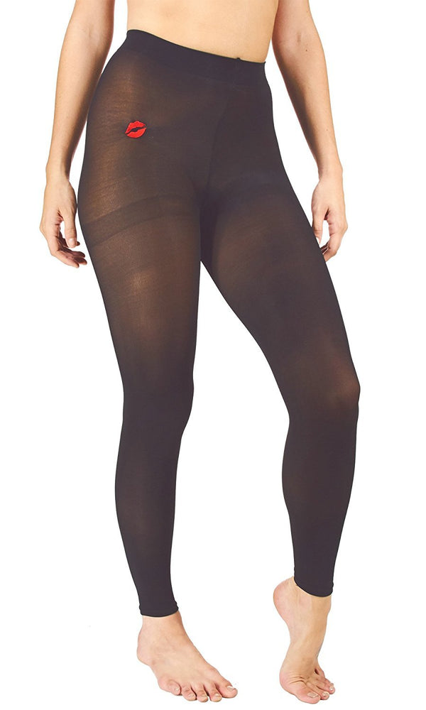 Marilyn Monroe Womens Ladies 3Pack Footless Opaque Tight With Lip Embroidery (See More Colors and Sizes)