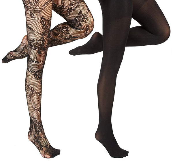 Marilyn Monroe Womens Ladies 2Pack Black Floral Fishnet Tights With Solid Opaque (See More Sizes)