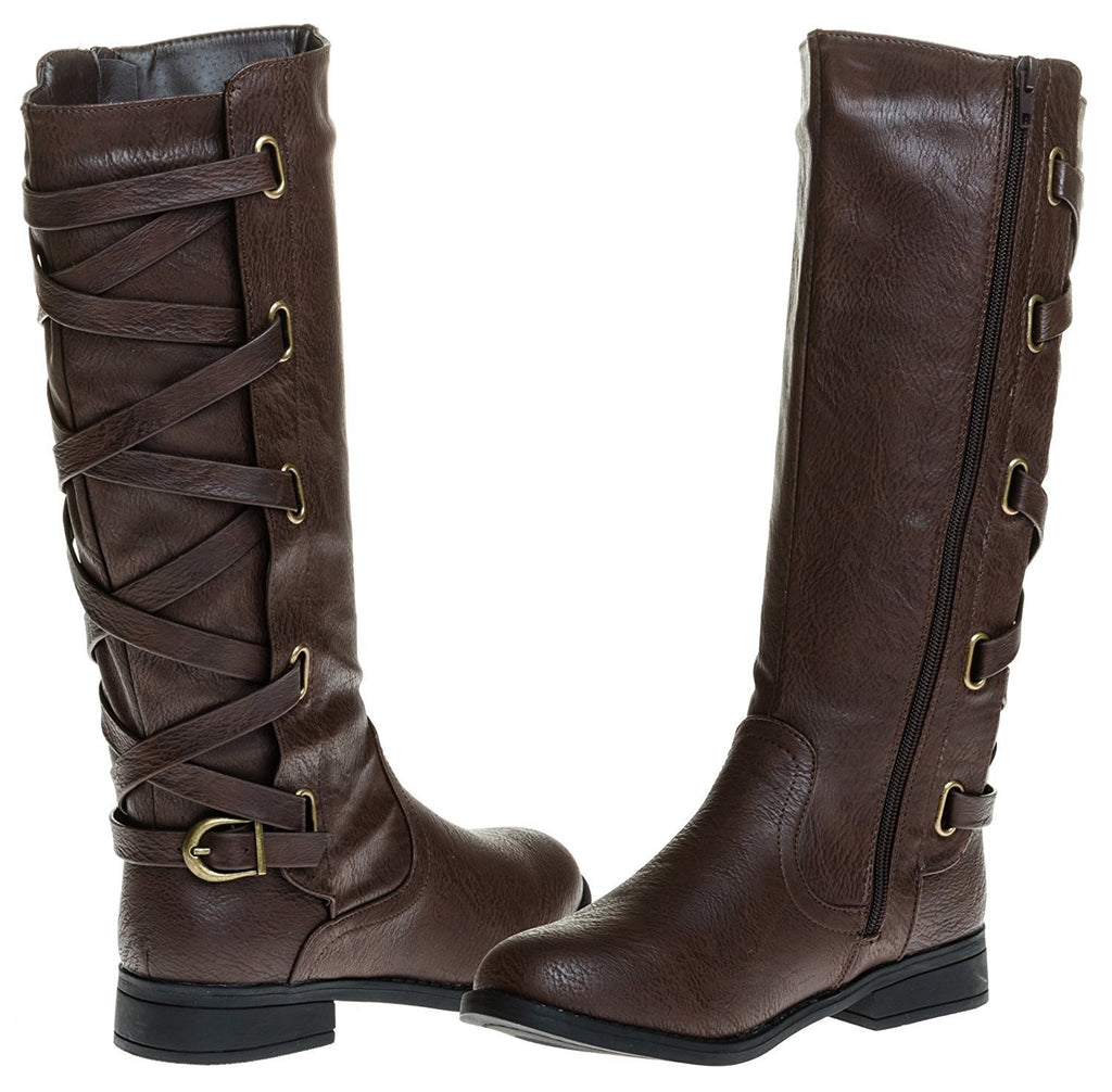 Sara Z Ladies Riding Boot With Lace Up Back Strap (Brown), Size 7