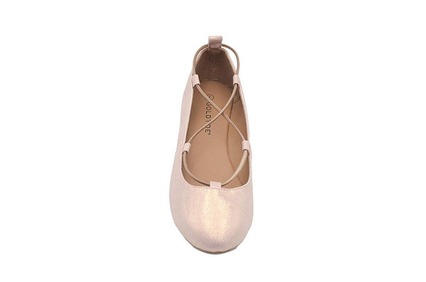 Gold Toe Ladies Ballet Flats Shimmer Micro Shoes with Ghillie Elastic