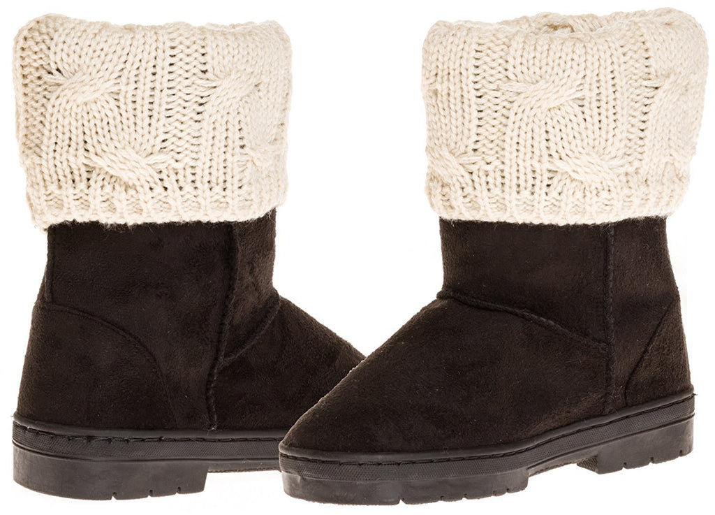 Sara Z Girl's Suede Lug Sole Winter Boot With Fold-Over Sweater Cuff (Black), Size 13-1