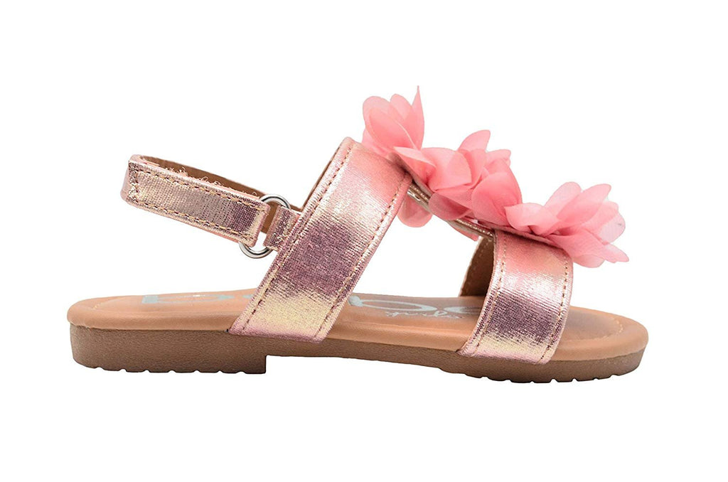 bebe Toddler Girls Fashion Sandals Shimmer Flats with Chiffon Rhinestone Flowers