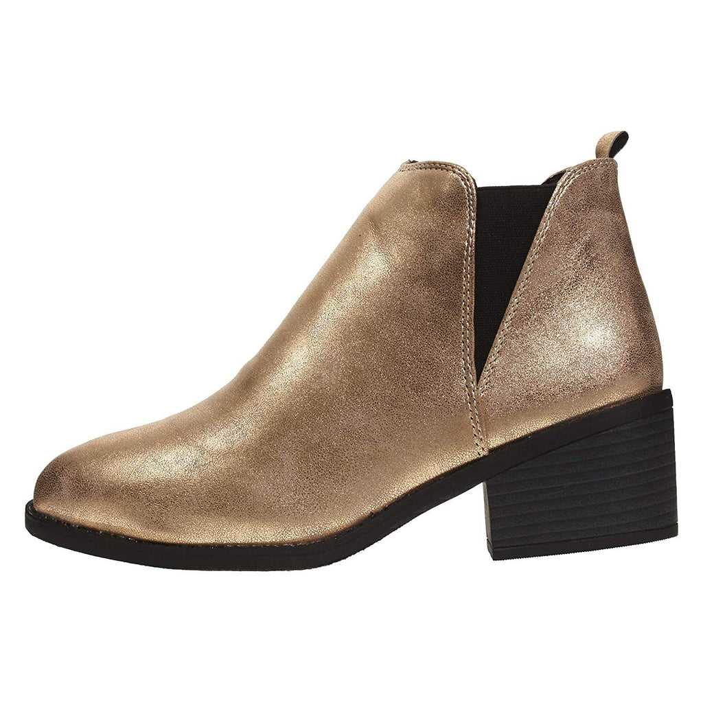 Via Rosa Women's PU Chelsea Ankle Boots Shimmer Material Slip-On Fashion Shoes