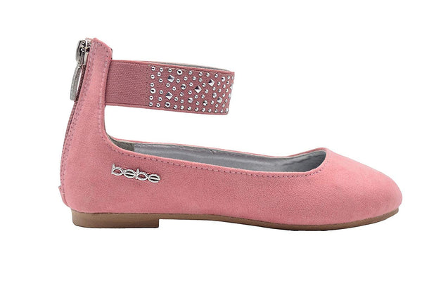 bebe Girls Big Kid Microsuede Ballet Flats Slip-On Round Toe Dress Ballerina Shoe with Studded Ankle Strap
