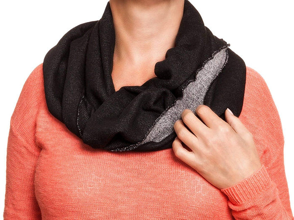 Rampage French Terry Infinity Loop Heavy Fashion Scarf Pashmina - Black