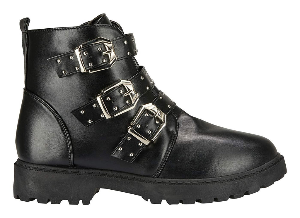 Women's Smooth PU Moto Boots Lace up Back Strap Lace-up Fashion Shoes