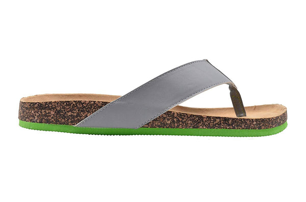 Gold Toe Mens Footbed Sandal Flip Flop Slide with Contrast Color Sole Slip On Shoe