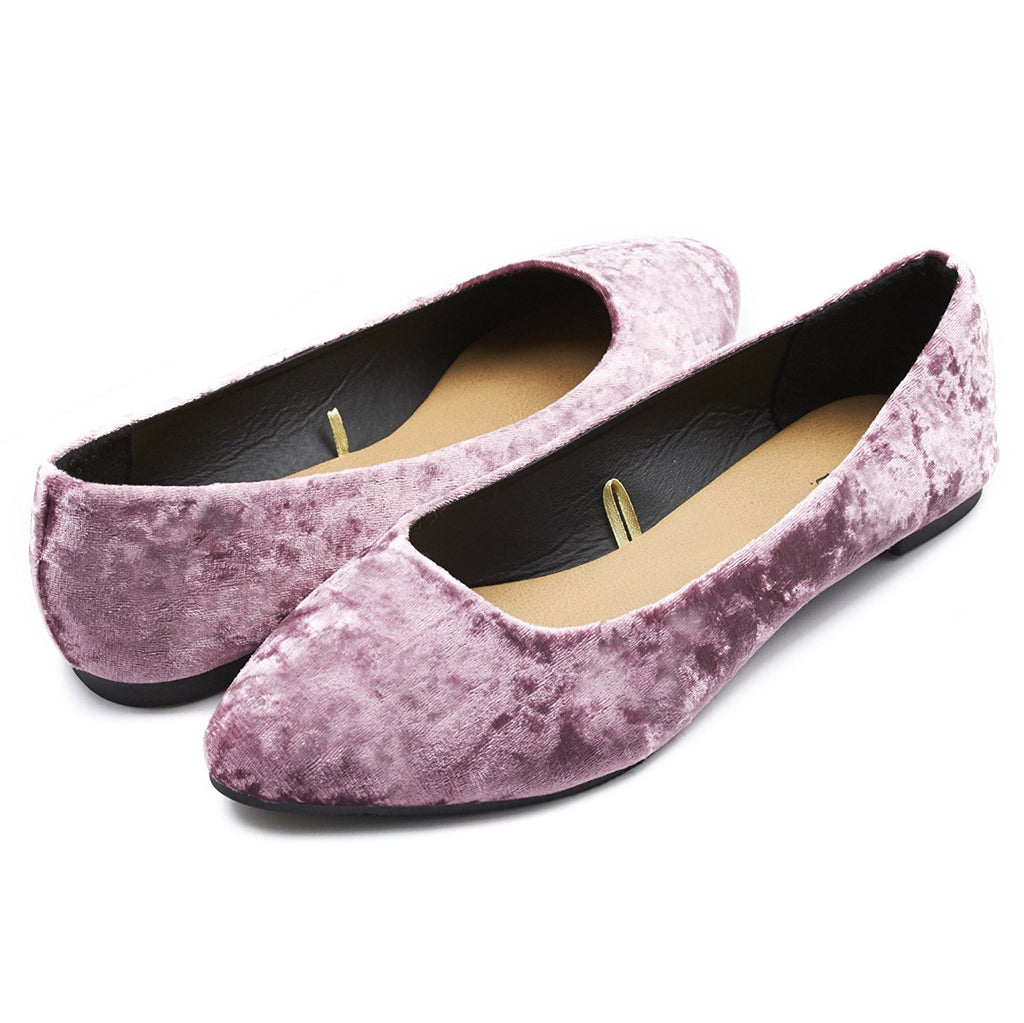 Sara Z Womens Crushed Velvet Pointed Ballet Flat Slip On Shoes (See More Colors and Sizes)