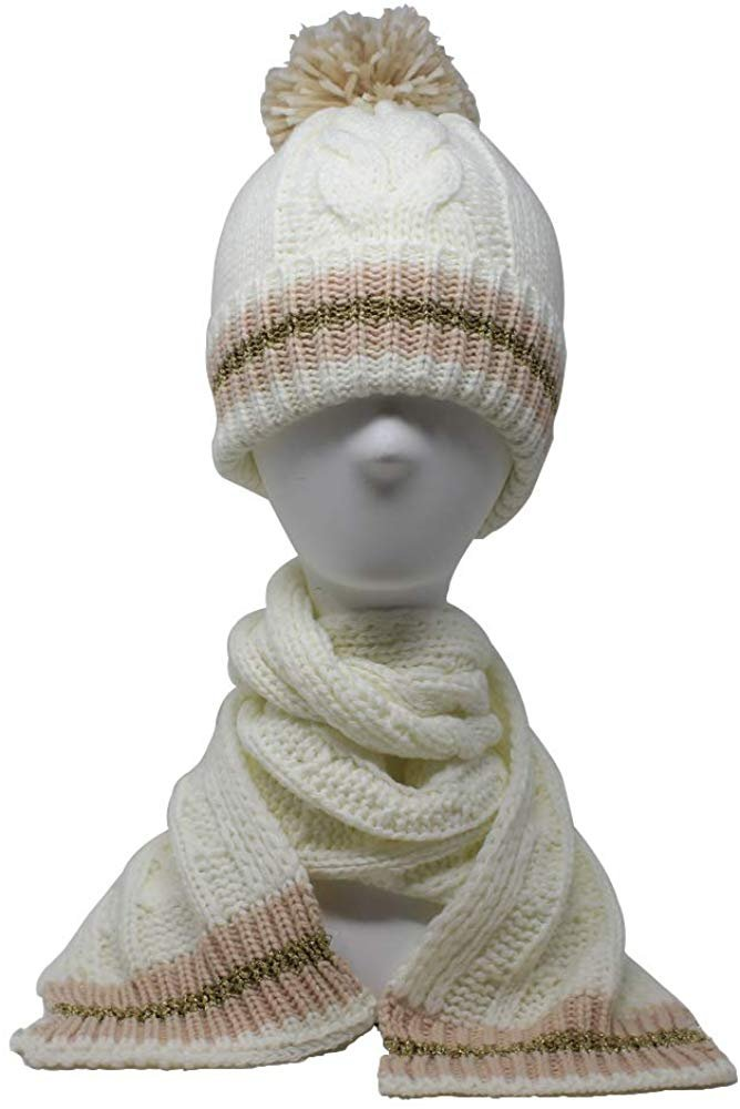 BCBG Girls Little Kid 2 Piece Slouchy Chunky Cable Knit Beanie Cap and Matching Neck Scarf Set