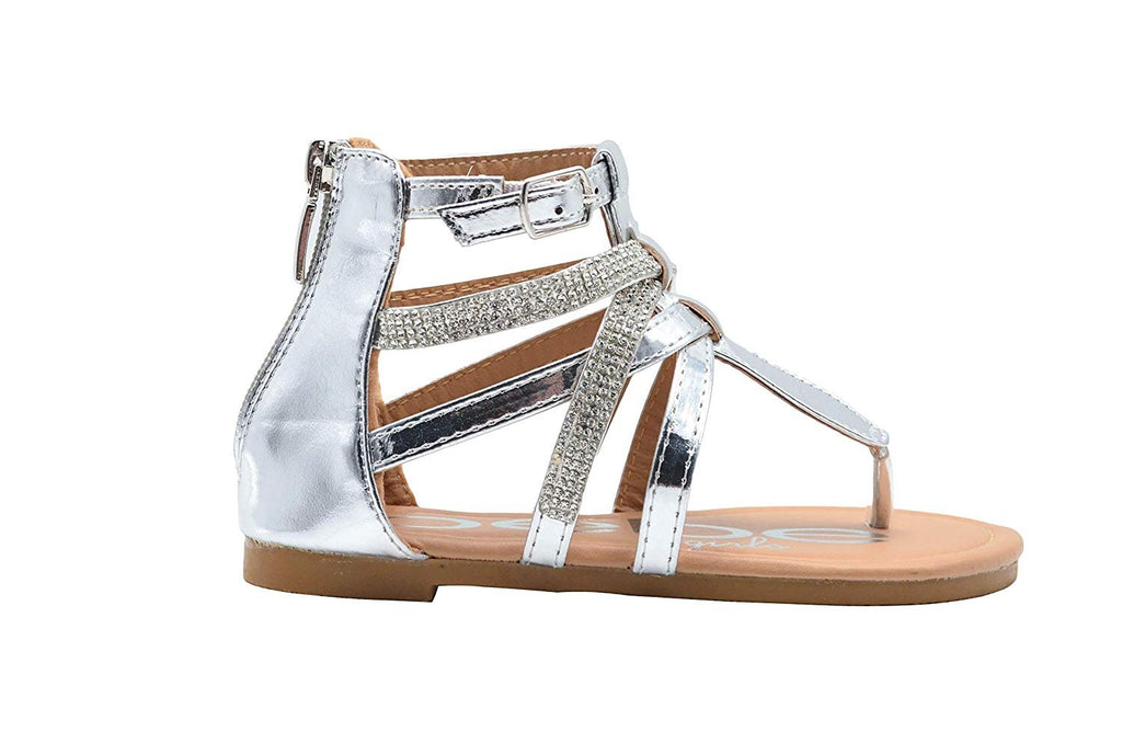 bebe Girls Fashion Sandals Zip Up Metallic Gladiator Flats with Rhinestone Straps