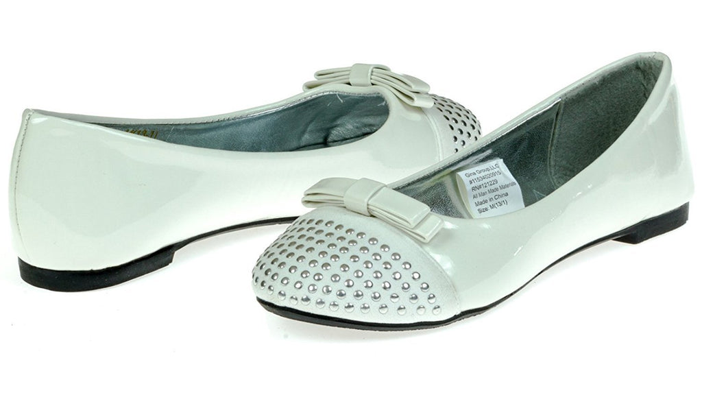Chatties Girls Ballet Flats With Studded Toe Cap & Bow Size 4/5 - White