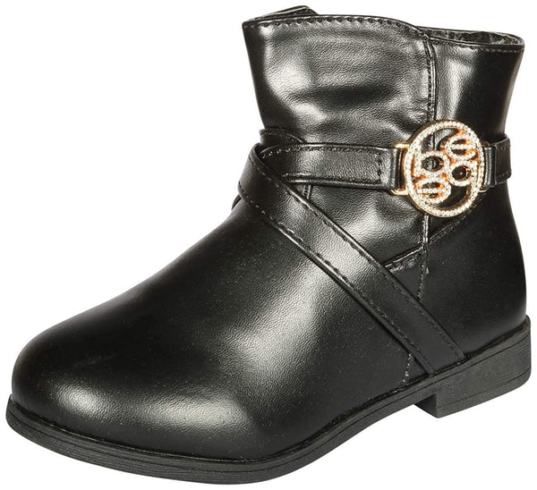 bebe Girls Riding Boots with Medallion 13 Black/Gold