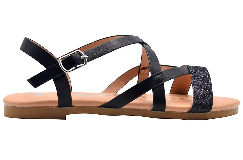 bebe Girls Fashion Sandals Caged Summer Flats with Glitter Front Strap