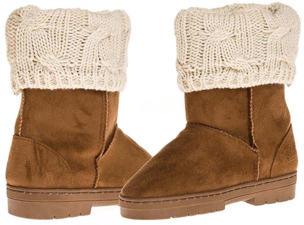 Sara Z Girl's Suede Lug Sole Winter Boot With Fold-Over Sweater Cuff (Cognac), Size 11-12