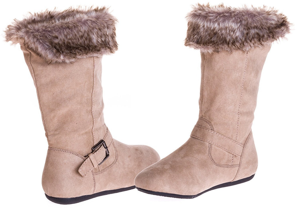 Sara Z Girls Microsuede Boots With Fur Lining (Tan), Size 13-1
