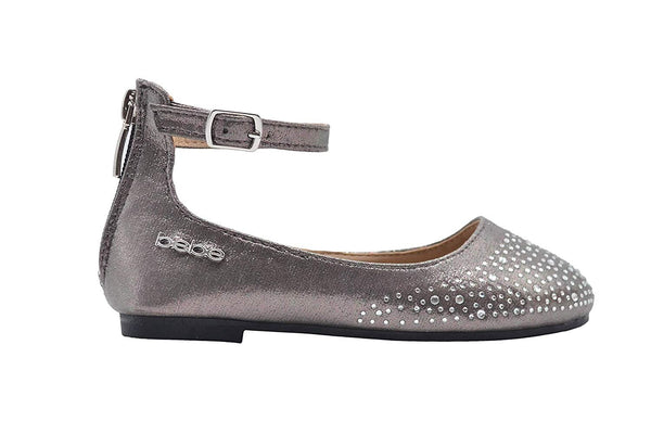 bebe Girls Big Kid Shimmer Rhinestone Ballet Flats Slip-On Round Toe Microsuede Dress Ballerina Shoe with Ankle Strap