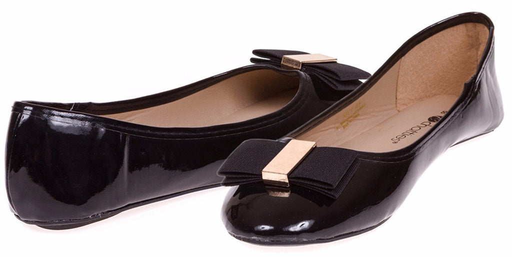 Chatties Ladies Patent Pu Ballet Flat with Bow Size 11 (Black) - (Multiple Colors and Sizes Available)