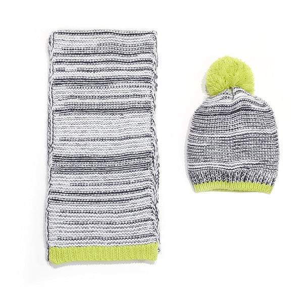 Chatties Marled Knit Beanie And Oblong Scarf Set Lime