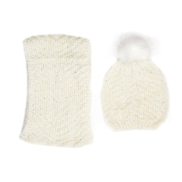 Marilyn Monroe Sequin Knit Beanie And Infinity Scarf Set Ivory