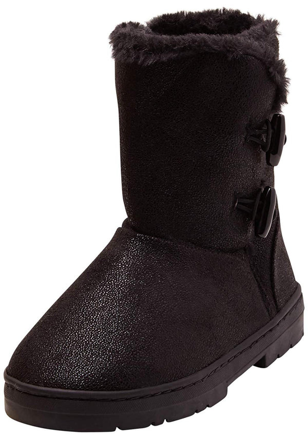 bebe Girls Big Kid Mid Calf Easy Pull-On Shimmery Winter Boots Embellished with Faux Fur Trim