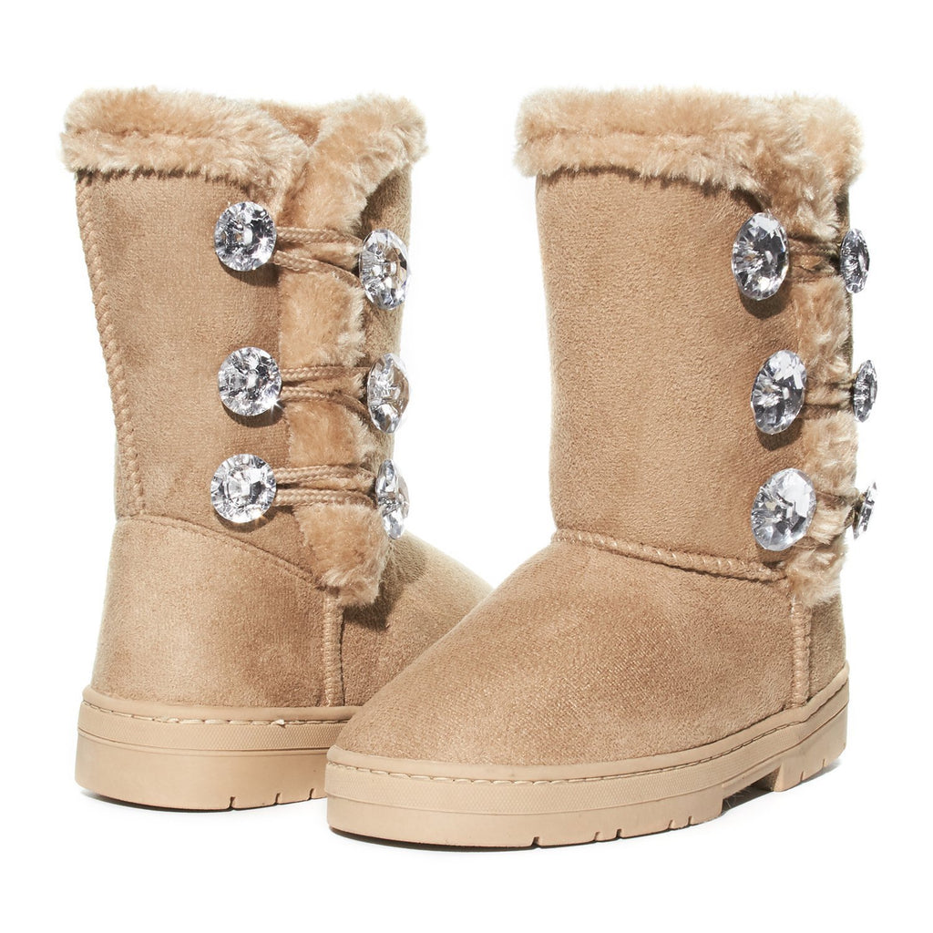 Sara Z Girls Rhinestone Button Faux Fur Lined Mid Calf Fashion Winter Boots 2 Tan/Gold