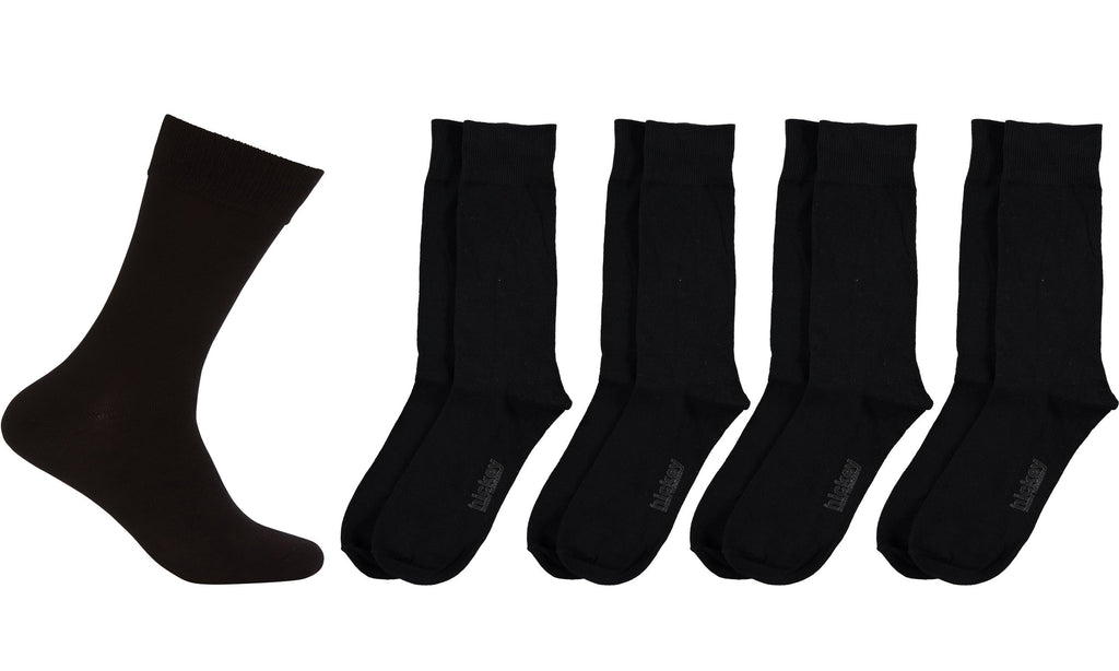 Hickey Freeman Men's Classic bamboo Cotton Extra Soft Dress Crew Socks - Premium Comfort Business Casual Socks, 4 Pack (Black/Blue Stripes - Cotton)