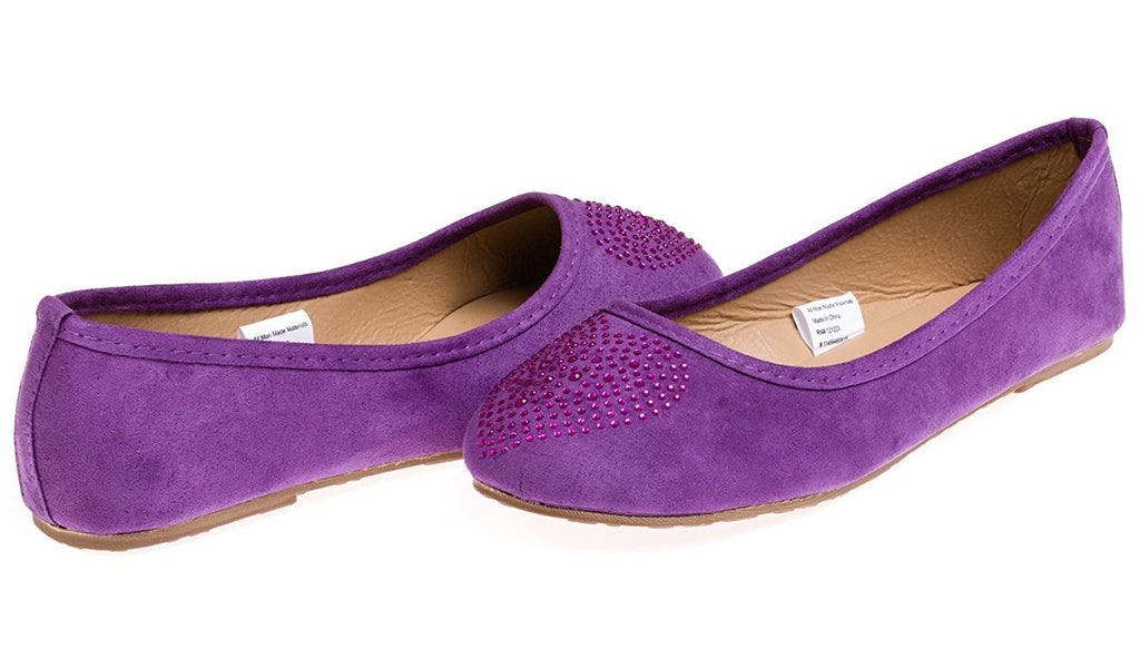 Chatties Girls Microsuede Ballet Flats With Heart Rhinestone Size 12/13 - Purple/Fuchsia