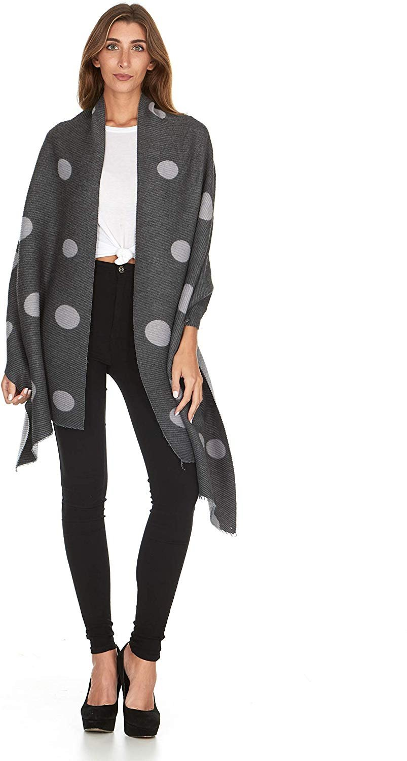 Laundry By Shelli Segal Women's Pleated Polka Dot Blanket Scarf Wrap Shawl Soft Warm Large Fall Winter Fashion Scarves for Ladies