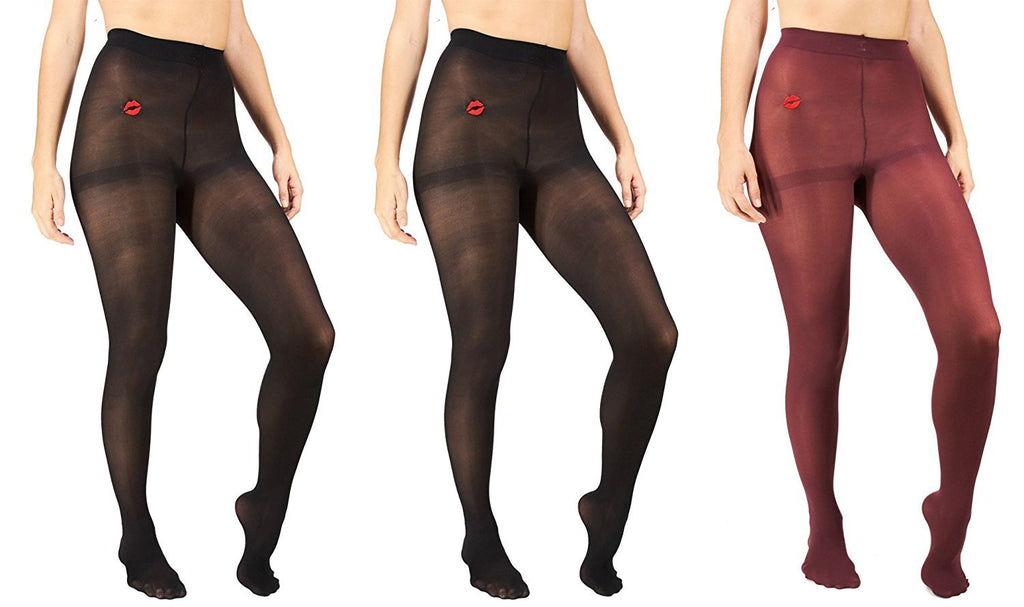 Marilyn Monroe Womens Ladies 3Pack Footed Opaque Tights With Lip Embroidery (See More Colors and Sizes)