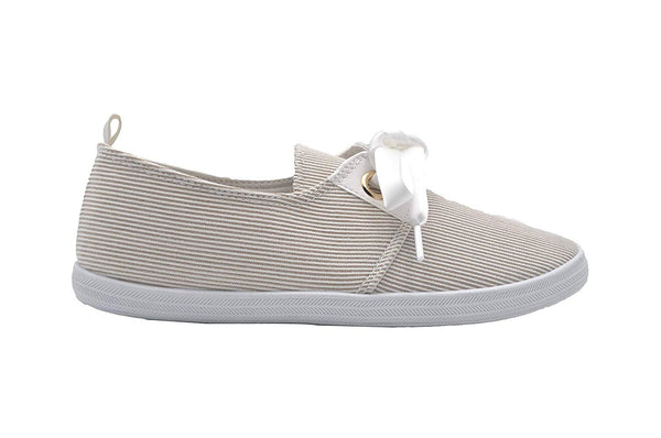 dELiAs Ladies Sneakers Stripe Fabric Slip On Sneaker with Satin Bow