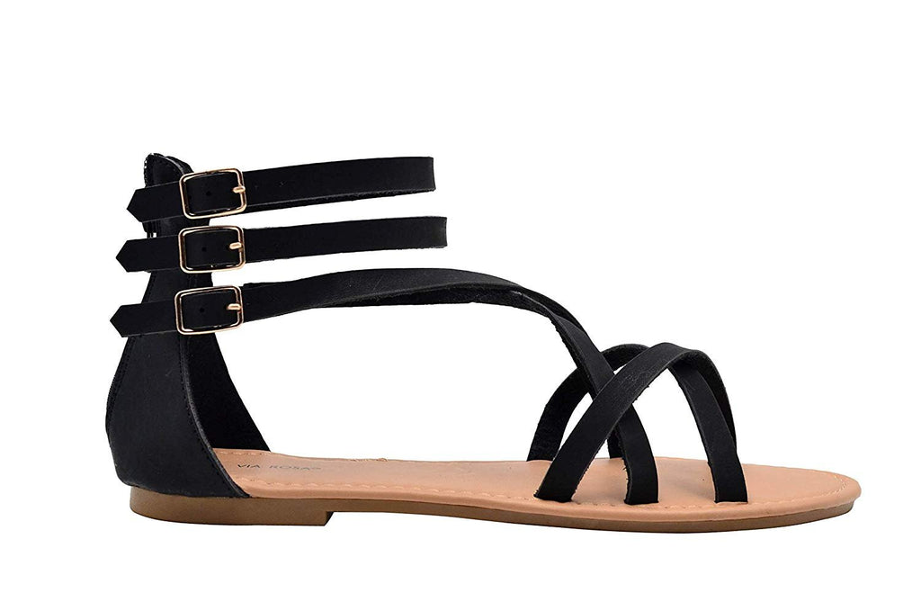Via Rosa Ladies Gladiator Nubuck Pu Triple Buckle Gladiator Flats