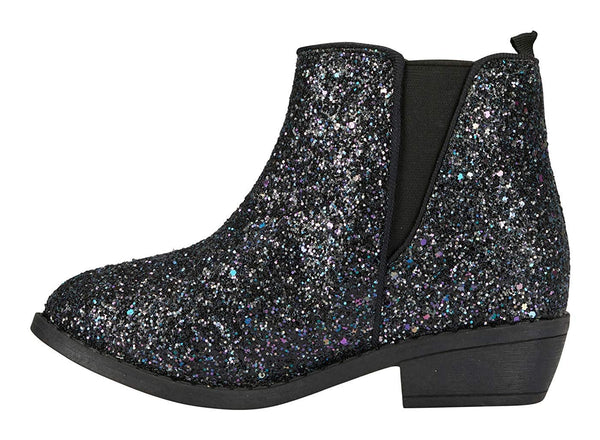bebe Girls Chunky Glitter Ankle Boots with Elastic Gusset Dress Fashion Shoes