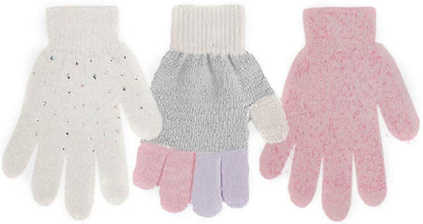 BCBG Girls Little Kid Warm Winter Stretchy Sparkly Rhinestone Magic Knit Gloves - Cute Fall Winter Accessories (3 Pack)