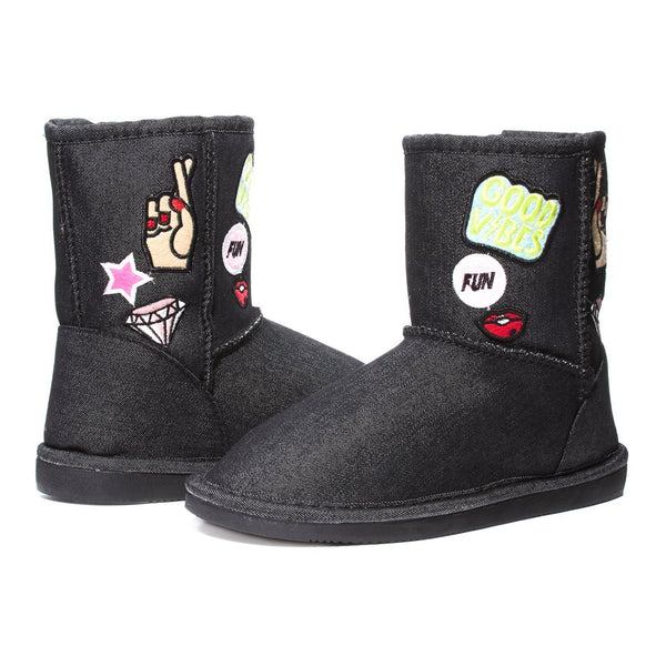 Sara Z Womens Denim Boots with Patches