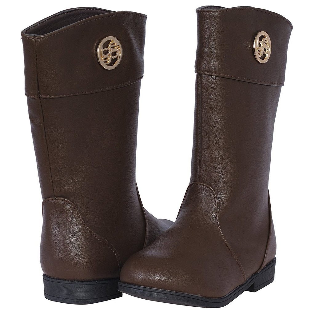 bebe Girls Riding Boots with Medallion 13 Brown/Gold