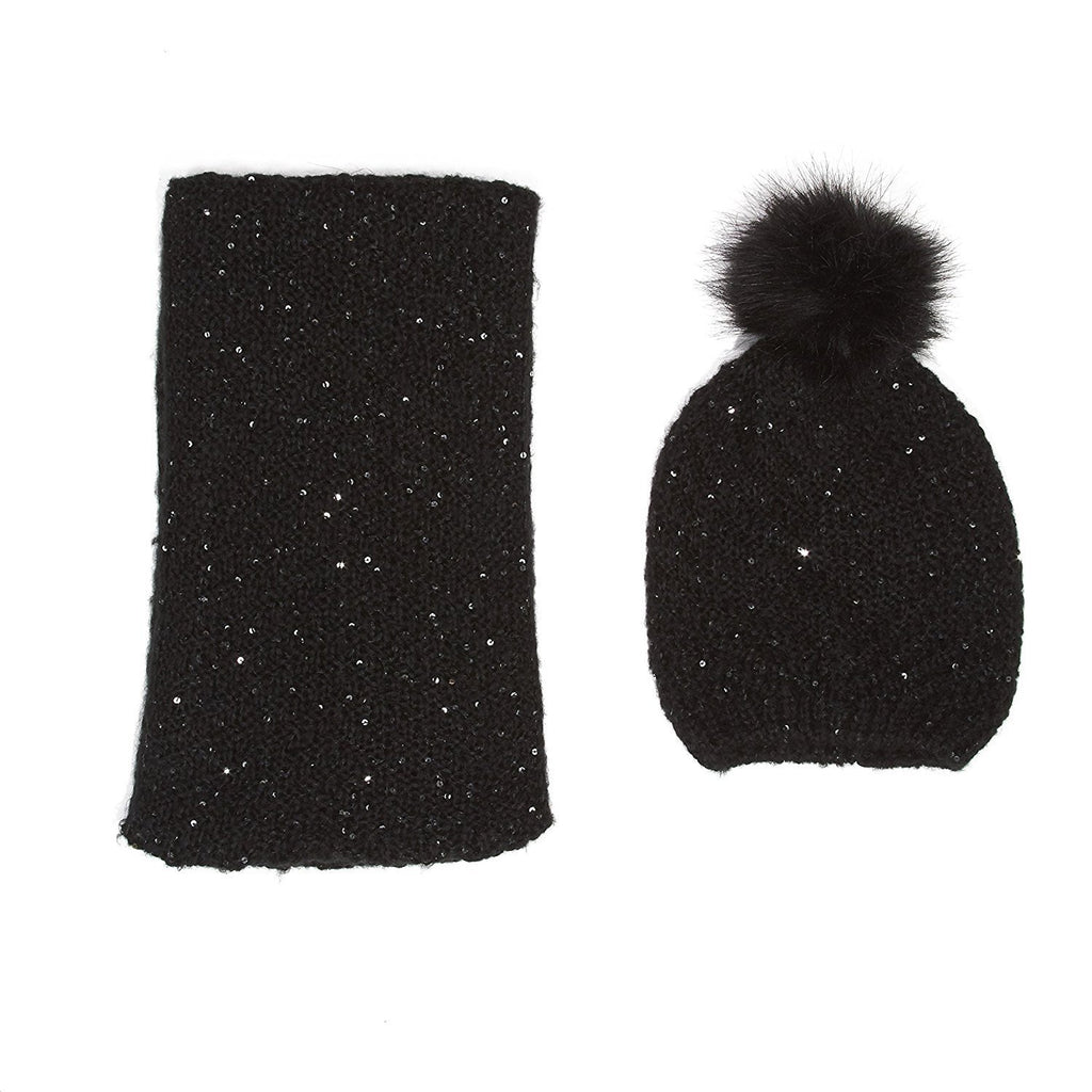 Marilyn Monroe Sequin Knit Beanie And Infinity Scarf Set Black