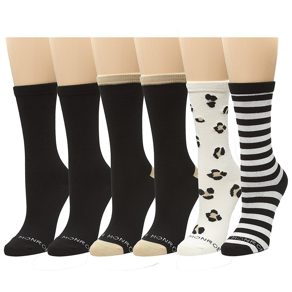 Marilyn Monroe Womens Ladies 6Pack Super Soft Pattern Crew Socks Multicolored Black/Ivory Size 9-11