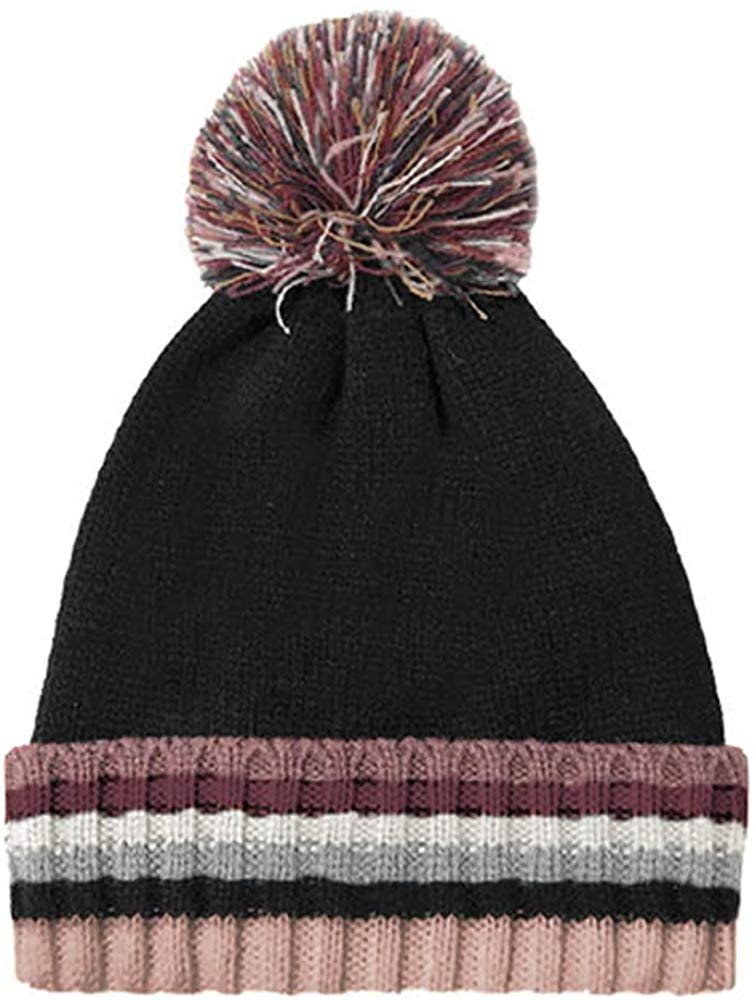 Rampage Women's Multicolor Striped Slouchy Cuffed Knit Beanie Cap With Pom Pom - Fall Winter Accessories