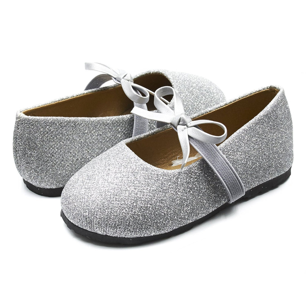 Sara Z Kids Toddlers Girls Glitter Ballet Flat Slip On Shoes With Elastic Strap and Bow Silver Size 5/6