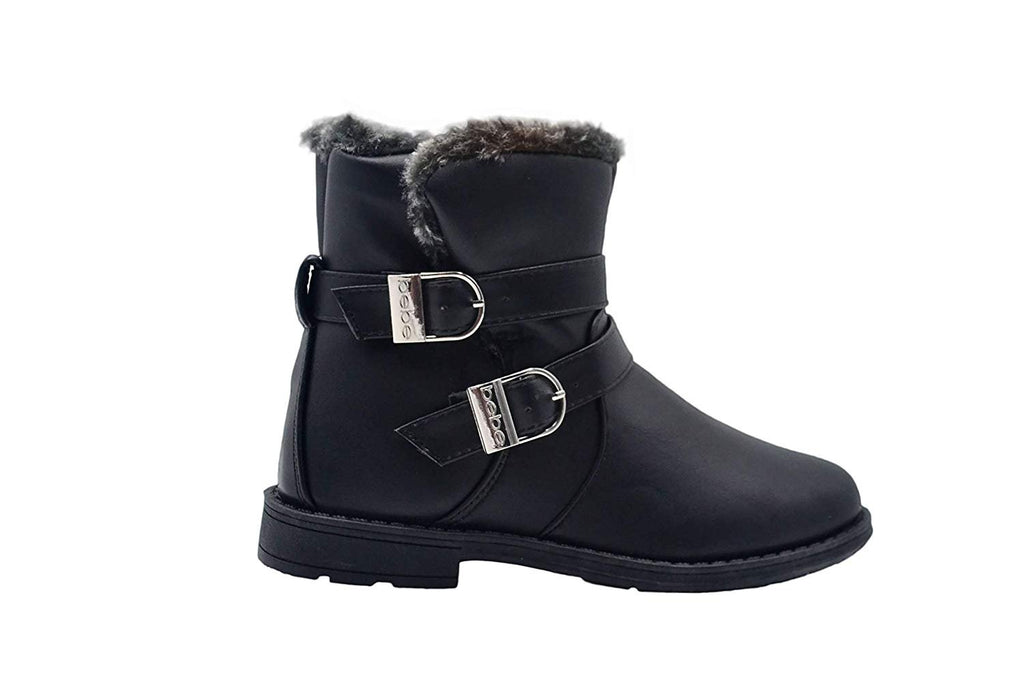 bebe Girls Big Kid Easy Pull-On Short Mid-Calf Ankle Boots Embellished with Faux Fur Trim and Buckles