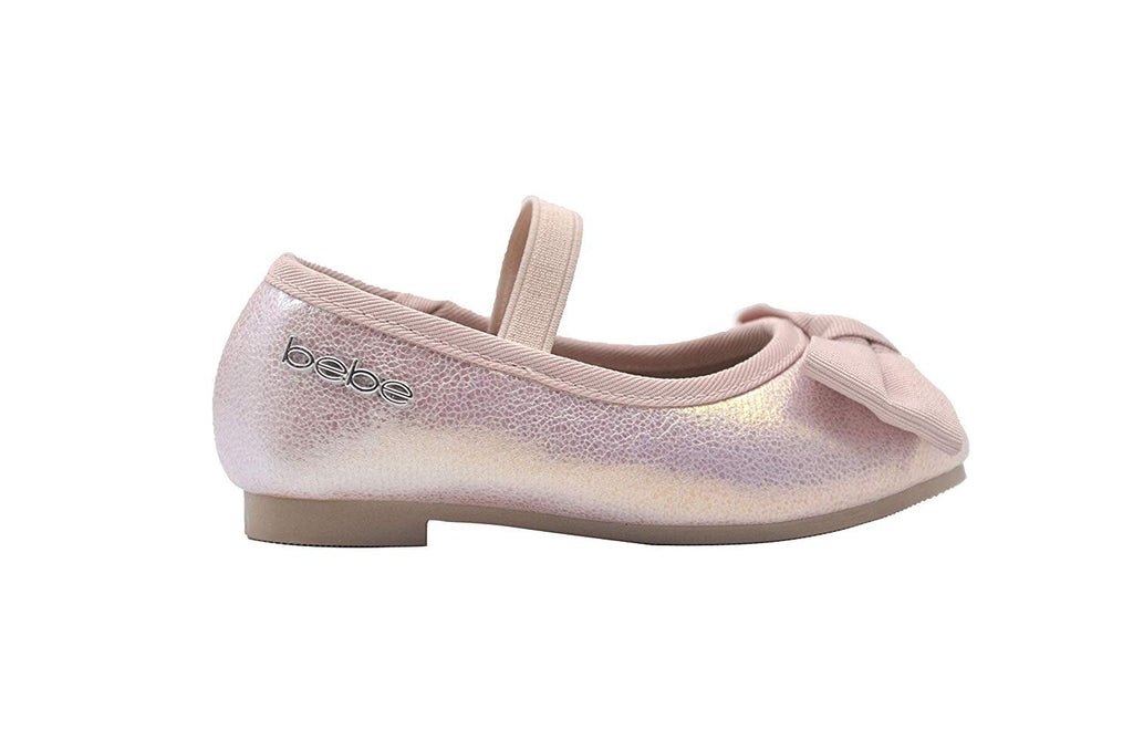 bebe Toddler Girls Ballet Flats Iridescent Mary Jane Ballerina Shoes with Bow