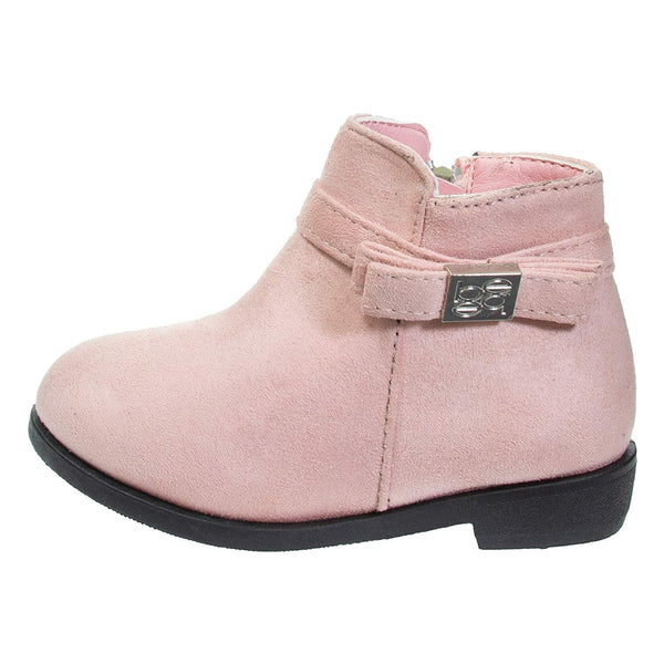 bebe Toddler Girls Ankle Boots Side Bow Slip-On Low-Heel Fashion Microsuede Shoes