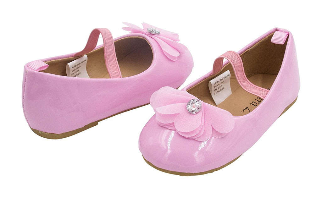 Sara Z Toddler Ballet Flat Patent Slip On Adorned with Chiffon Flower with Rhinestone (See More Sizes and Colors)