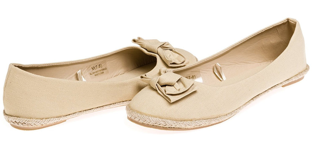 Chatties Ladies Canvas Espadrille Flats Size 9/10 - Tan