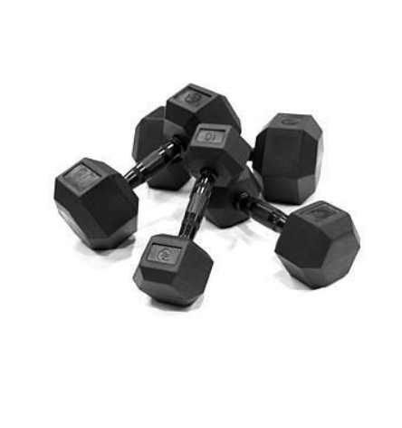 Element Fitness Virgin Rubber Commercial Hex Dumbbells - Set 3: 55lbs - 75lbs E-VR-HEXS3