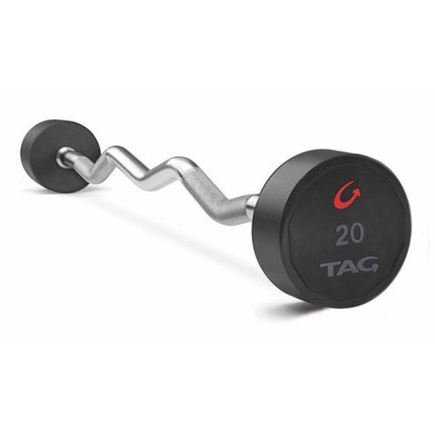 Tag Fitness Premium Ultrathane Fixed Barbell with EZ Curl Handle Set BBEL-EZ-20-110